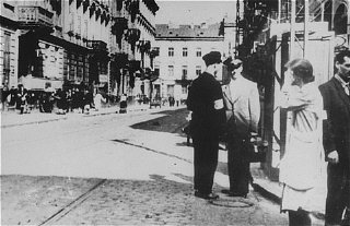 Street scene following the German occupation of the...