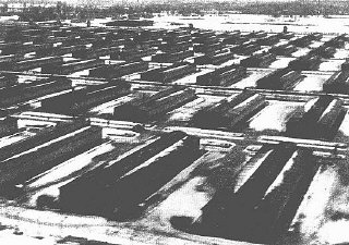 Barracks in the Auschwitz-Birkenau camp.