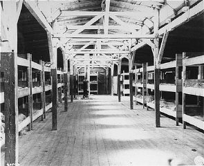 Barracks for prisoners at the Flossenbürg concentration camp, seen here after liberation of the camp by US forces.