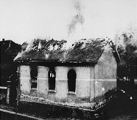 The synagogue in Oberramstadt (a town in southwestern Germany) burns during Kristallnacht. Oberramstadt, Germany, November 9-10, 1938.