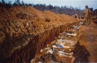 American soldiers walk along an open, mass grave for...