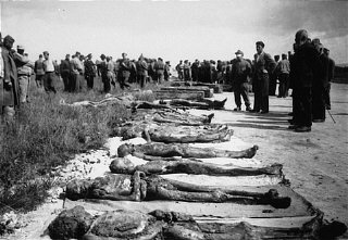 Local Germans are forced to view bodies of victims at Kaufering, a network of subsidiary camps of the Dachau concentration camp.
