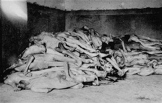 The bodies of former prisoners are piled in the crematorium...