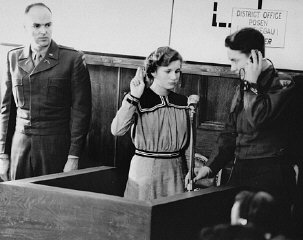 Fifteen-year-old Maria Dolezalova is sworn in as a...