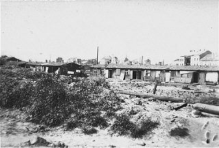 Post-liberation view of the Russian Camp (Hospital Camp), a section of the Mauthausen concentration camp.