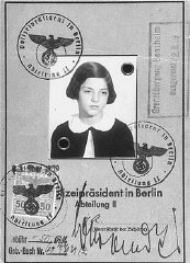 Passport issued to Gertrud Gerda Levy, who left Germany in August 1939 on a Children's Transport (Kindertransport) to Great Britain. Berlin, Germany, August 23, 1939.