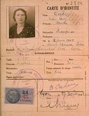 "Identification card of Berthe Levy Cahen, issued by the French police in Lyon, stamped ""Juif"" (""Jew"")."