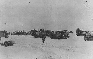 Units of a German armored division on the eastern front in February 1944.