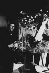 Marc Chagall in his studio in Gords. France, 1940