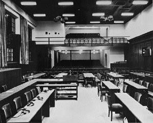 The remodeled courtroom at Nuremberg.