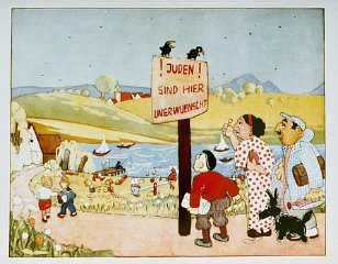 """Ilustración de un cebador de los niños antisemitas mujeres. El letrero dice: """"Judios no se quieren aquí"""". Alemania, 1936."""