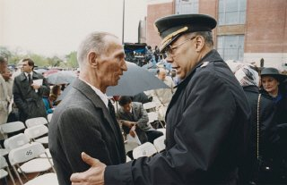 Jan Karski and General Colin Powell meet during the...