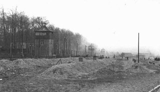 A view of the Buchenwald concentration camp after the liberation of the camp. Buchenwald, Germany, after April 11, 1945.
