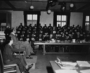 A witness testifies during the Mauthausen concentration...