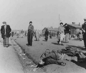 Soon after liberation, camp survivors walk amidst dead...