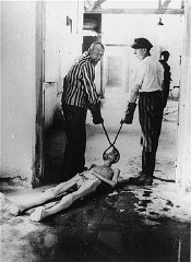 Survivors of the Dachau concentration camp demonstrate...