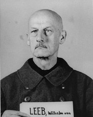 Mug shot of former Field Marshal Wilhelm Ritter von Leeb, a defendant in the High Command Case.