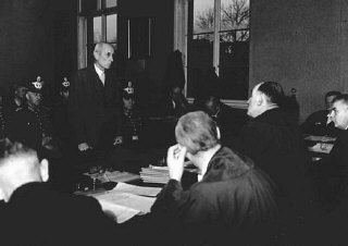 Eugen Bolz, a member of the Catholic opposition to Hitler, during his trial before the People's Court.