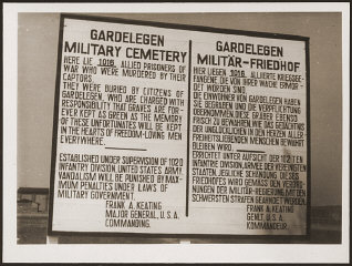 A sign at the military cemetery in Gardelegen in memory...