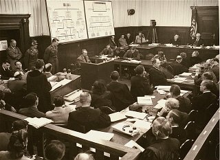 Defendant Karl-Heinrich Pfirsch testifies during the Krupp Trial.