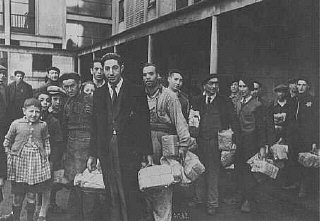 Jewish prisoners arrive at the Drancy transit camp....