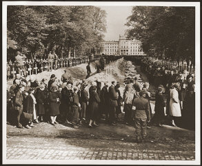 German civilians from Ludwigslust file past the corpses...