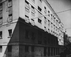 A building in Rome used as Gestapo (secret state police) headquarters during the German occupation. This photograph was taken after US forces liberated the city. Rome, Italy, June 1944.