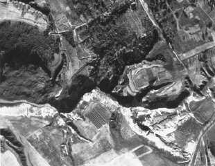 An aerial photograph of Babi Yar taken by the German...