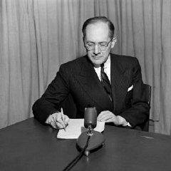 Raphael Lemkin prepares for a talk on UN radio, probably...