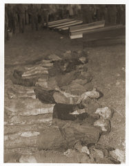 The bodies of Jewish women exhumed from a mass grave...