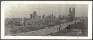 1919 photograph showing World War I destruction in...