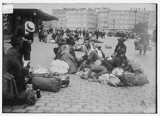 Refugees in the Gare de Lyon in Paris during World...