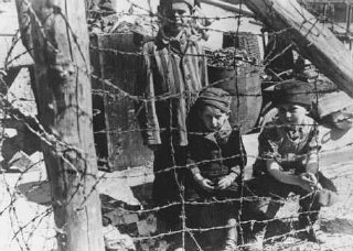 "Soon after liberation, camp survivors from Buchenwald's ""Children's Block 66""—a special barracks for children."