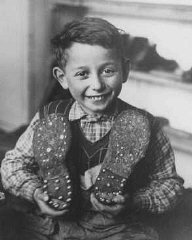 A Jewish child refugee who fled eastern Europe as part of the organized postwar flight of Jews (the Brihah), as an apprentice at the Selvino children's home for Jewish displaced persons. Italy, October 20, 1946.