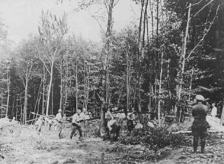An SS guard supervises prisoner forced laborers in the forest near the Buchenwald concentration camp.