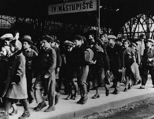 A transport of 200 Jewish children, fleeing postwar antisemitic violence in Poland, arrives at the Prague railroad station.