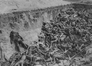 A mass grave soon after camp liberation.