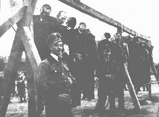 The execution by hanging of Serbs and Jews in the Banat...