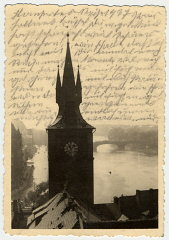 Photograph of the water tower of the Old Town Mills...