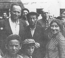 Polish Jews, who had escaped the Germans by fleeing to the Soviet Union, upon their return to Poland after World War II. Poland, 1946.