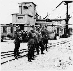 Commandant Arthur Roedl and SS officers visit the Gross-Rosen...