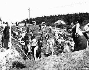 German civilians from the town of Nammering, under orders of American military authorities, dig graves for victims of a death ma