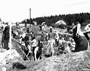 مدنيون ألمان تحت مراقبة القوات الأمريكية العسكرية, يحفرون مقابرا لضحايا مسيرات الموت من محتشد بوخنوالد .