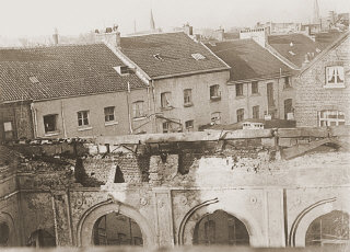 View of the old synagogue in Aachen after its destruction...