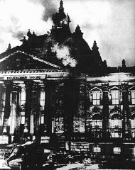 The Reichstag (German parliament) building burns in...