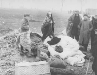 Stateless Jewish refugees at a tent camp in a no-man's-land...
