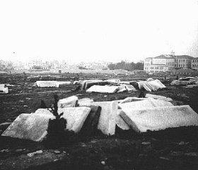 View of the destroyed Jewish cemetery in German-occupied...