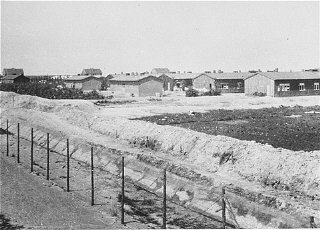 A view of the Westerbork camp, the Netherlands, between...