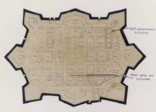 Map of Theresienstadt from an original document (1942-1945)...