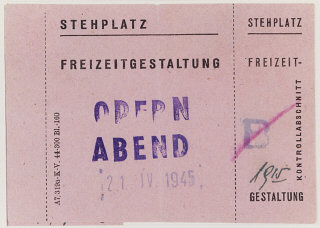 Standing room ticket for an opera performed on April...